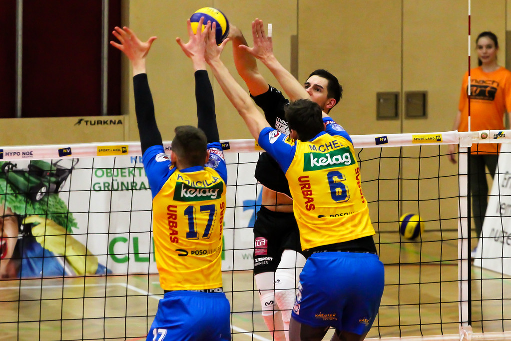 DenizBank AG Volley League Men 2017/18 SG VCA Amstetten NÖ/hotVolleys vs. SK Posojilnica Aich/Dob - 28/02/2018 - Credit: Peter Maurer - Bild zeigt: #3 Max Landfahrer