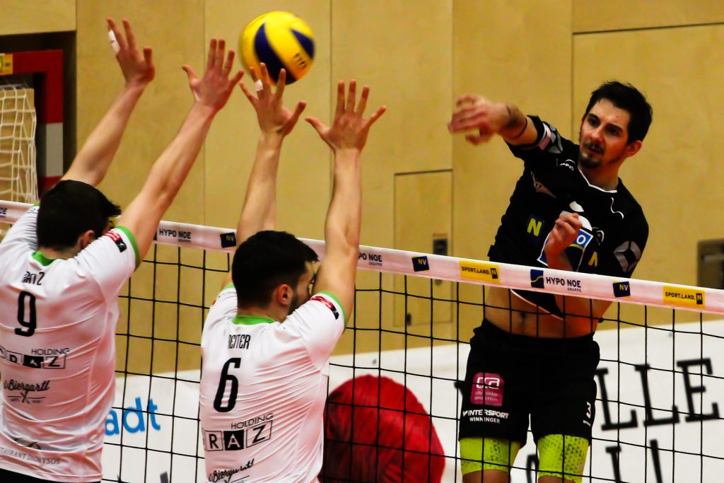 DenizBank AG Volley League Men 2017/18 SG VCA Amstetten NÖ/hotVolleys vs UVC Holding Graz - 07/02/18 - Credit: Peter Maurer - Bild zeigt: #3 Max Landfahrer