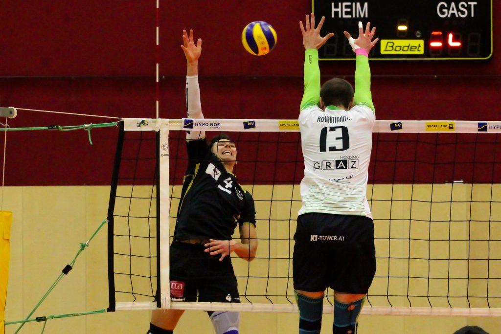 2018-19 DenizBank AG Volley League Men: SG VCA Amstetten NÖ gg. UVC Holding Graz - 08/12/2018 - Bild zeigt: #4 Cameron Branch - Credit: Peter Maurer