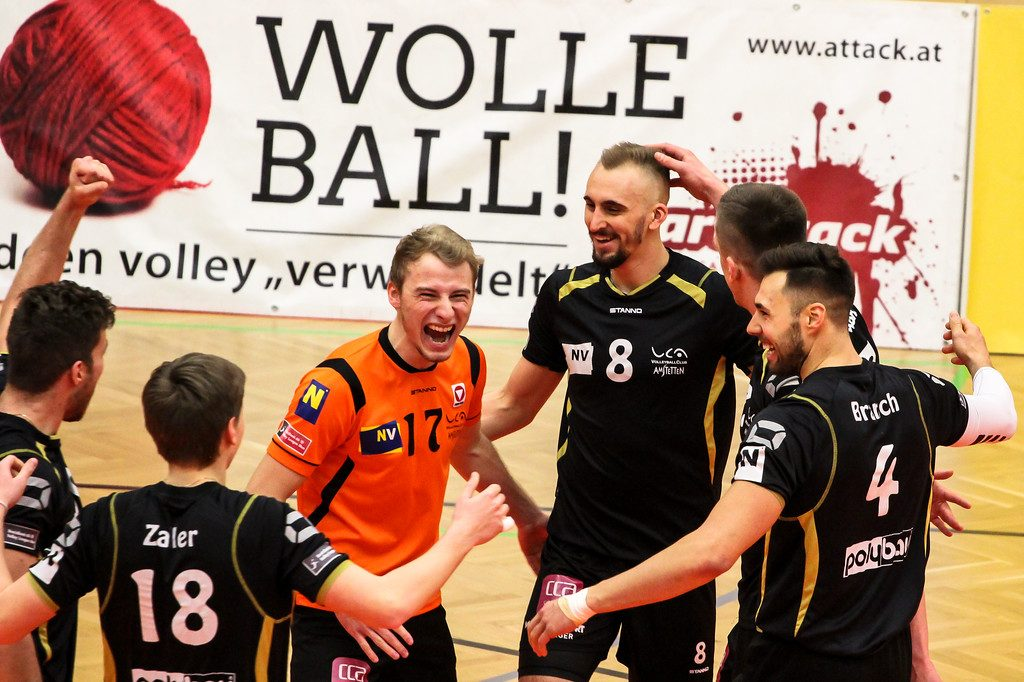 2018-19 DenizBank AG Volley League Men: SG VCA Amstetten NÖ gg. UVC Holding Graz - 09/03/2019 - Bild zeigt: SG VCA Amstetten NÖ - Credit: Peter Maurer (honorarfrei bei redaktioneller Verwendung)