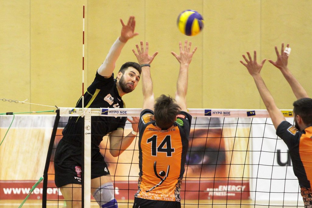 2018-19 DenizBank AG Volley League Men: SG VCA Amstetten NÖ gg. VBC TLC Weiz - Spiel um Platz 5 - 22/03/2019 -  Bild zeigt: Cameron Branch - Credit: Peter Maurer (honorarfrei bei redaktioneller Verwendung)